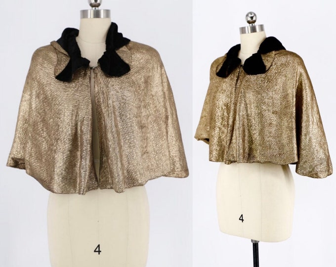 30's GOLD LAMÈ Art Deco evening cape