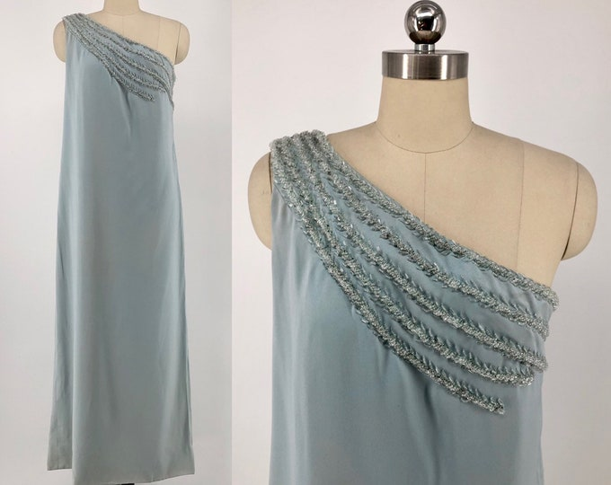 60s RAPPI Grecian one shoulder column gown