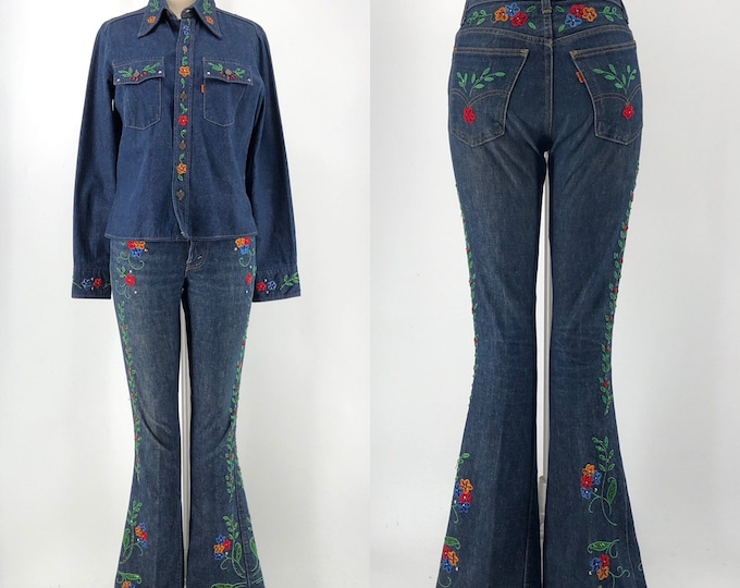 70s LEVIS orange tab custom beaded and embroidered denim bell bottom suit with shirt jeans 1970s vintage 30""