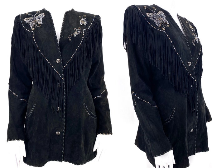 vintage GOSSAMER WINGS black suede beaded fringe jacket / 70s 80s Southwest Santa Fe butterfly motif rock star jacket m-L