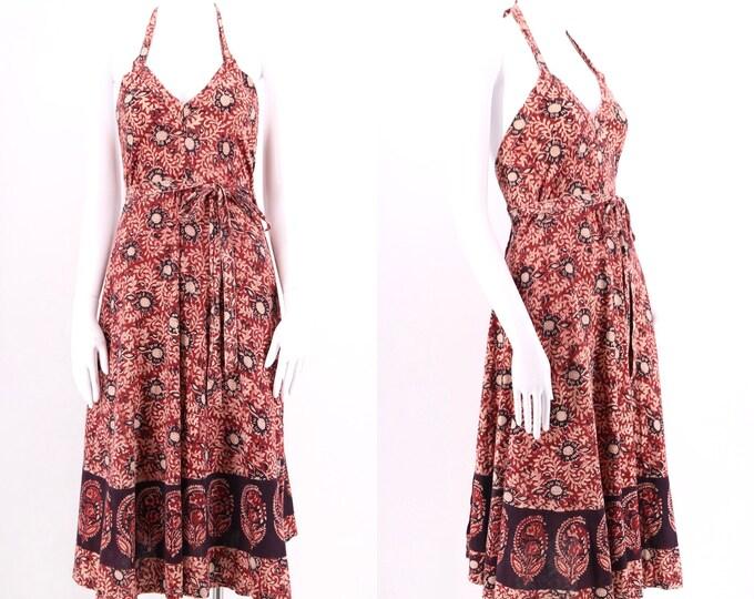 70s India cotton print wrap dress M  / vintage 1970s red bohemian print halter summer dress