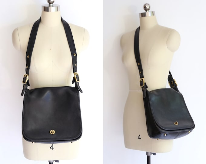 vintage COACH black leather bag/ 80s 90s saddle bag purse CROSS BODY handbag gold brass hardware