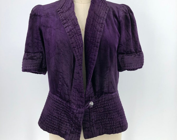 1930s Futuristic purple velvet jacket