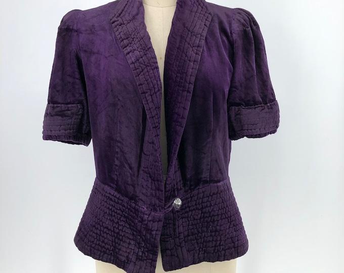 1930s Futuristic purple velvet jacket