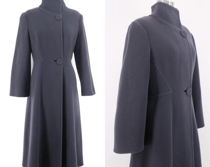80s PAULINE TRIGERE slate gray wool architectural seamed coat 70s vintage
