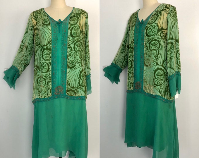 20s ART DECO jade green flocked velvet roses and beads flapper DRESS vintage 1920s antique