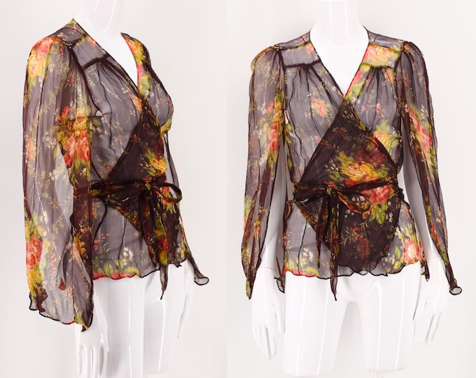 70s Floral Silk Chiffon Wrap Blouse / vintage 1970s does 70s chocolate sheer chiffon fluttery top sz S