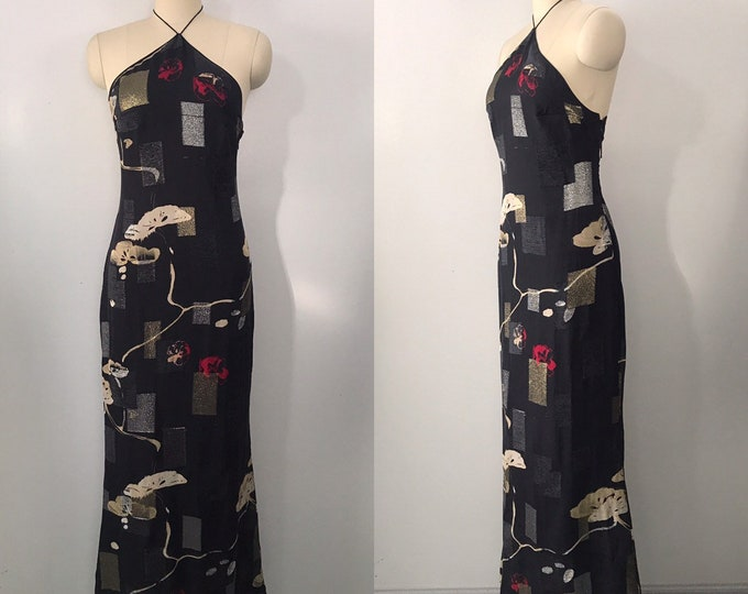90s EMANUEL UNGARO abstract chinoiserie print flocked lurex silk column gown DRESS 38 8