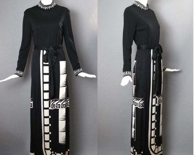 70s PAGANNE geometric print maxi dress M / vintage 1970s Paganne signed print black white gown hostess dress 14
