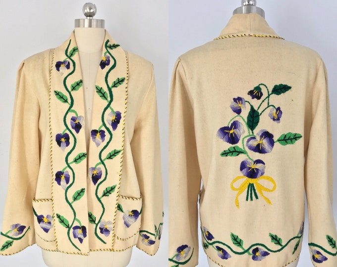 40s PANSY violet embroidered MEXICAN wool floral handmade JACKET 1940s 1950s vintage