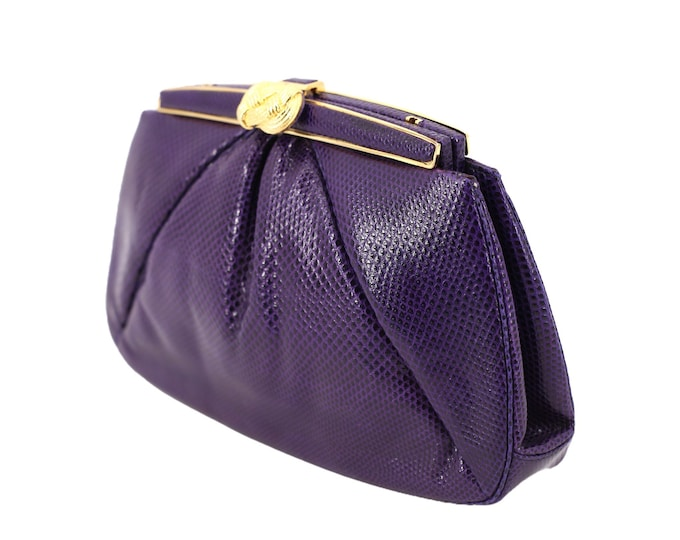 lizard JUDITH LEIBER purple jeweled clutch / vintage 1980s Karung lizard skin leather gold frame purse shoulder bag cross body 1986