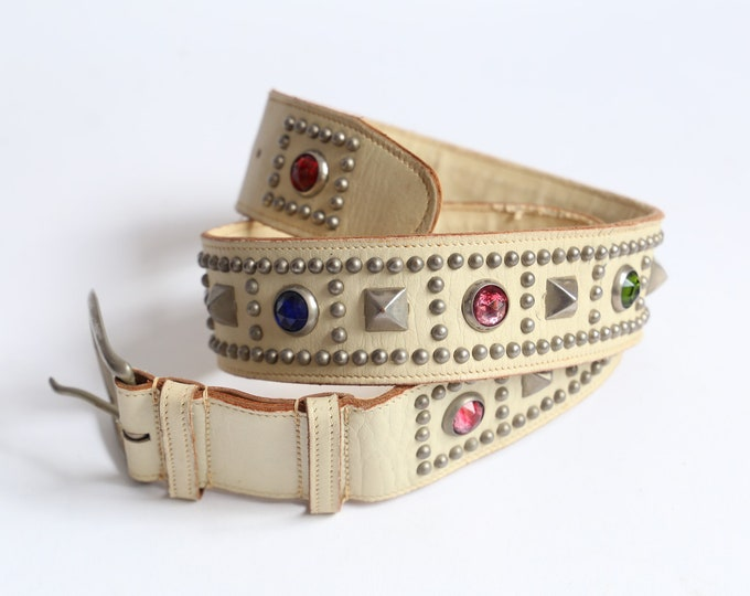 vintage 50s white studded rhinestone western belt / original 1950s colored gems jeweled rockabilly leather belt 30""