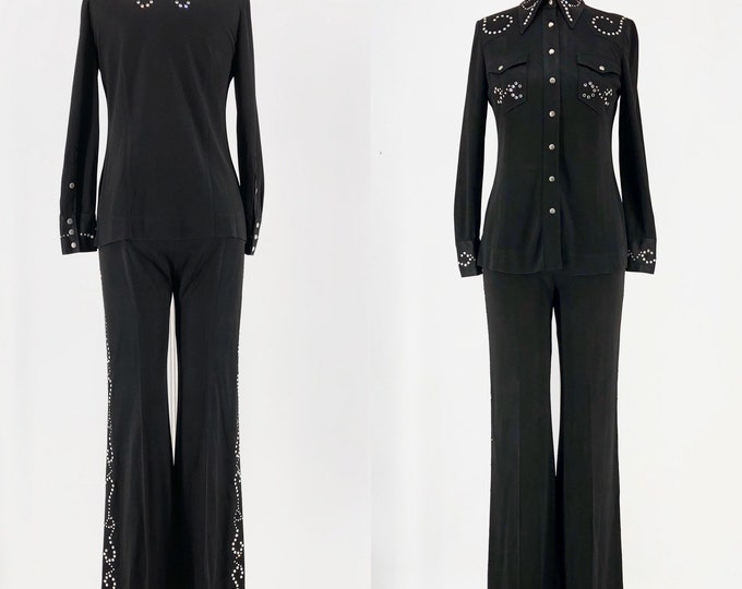 70s Las Vegas Manning Silver custom rhinestone stud bell bottom suit 8