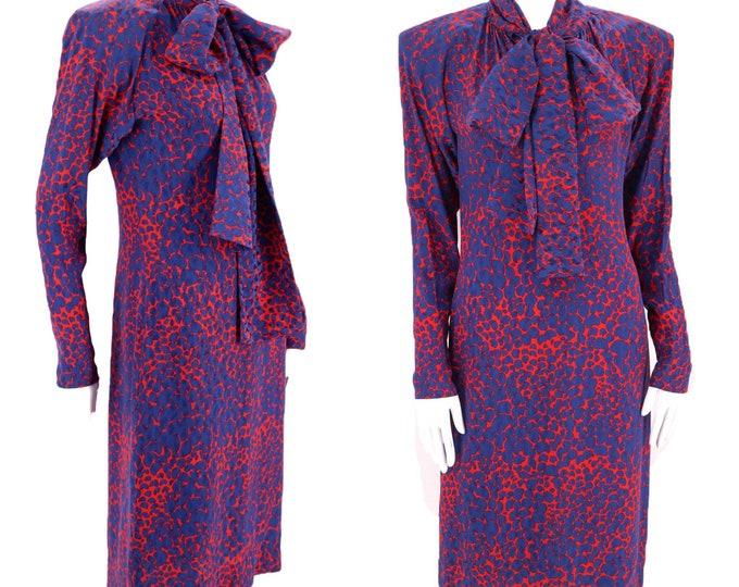 70s 80s YSL silk print bow dress 38 / 1970s vintage Yves Saint Laurent strong shoulder designer dress France 8