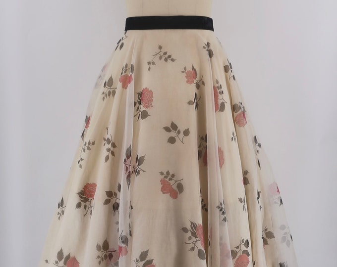 50s dreamy rose print sheer layered circle skirt