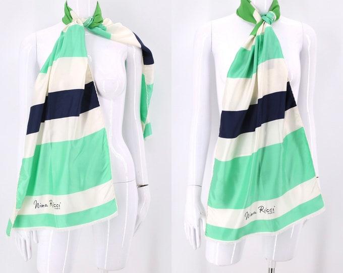 60s vintage silk NINA RICCI logo name print large designer scarf 60s 1970s 17 X 64