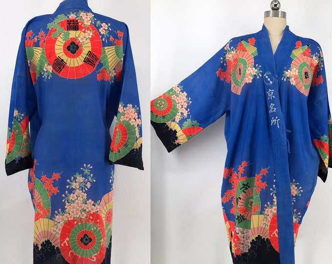 30s blue Yuzen Zome fan & cherry blossom print Kimono