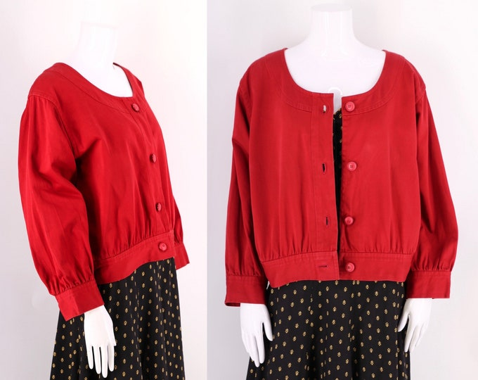 70s YSL red cotton smock jacket sz L  / vintage 1970s Yves Saint Laurent peasant top jacket XL