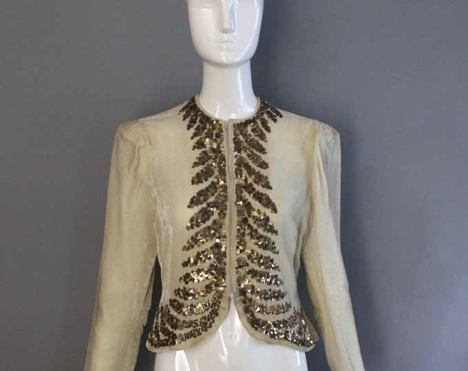 30s WINTER WHITE velvet gold sequin zipper front Deco Blouse Jacket vintage 1930s