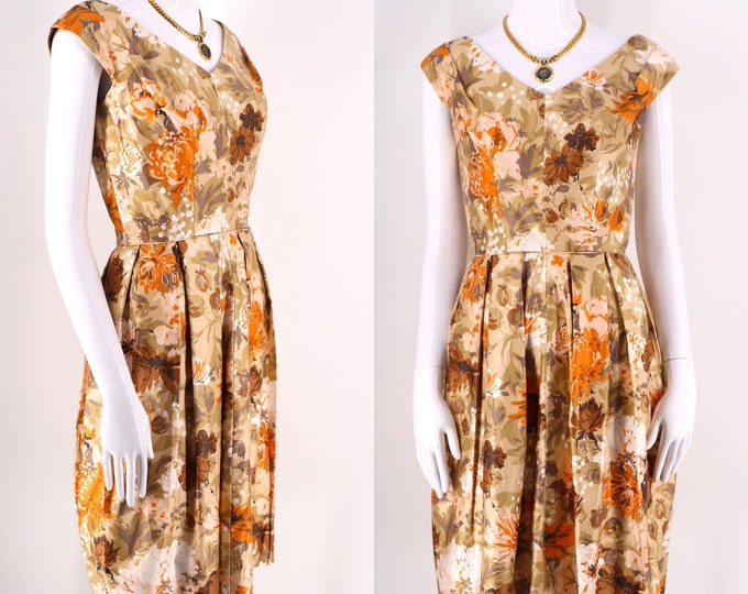 50s polished cotton earthy floral tailored summer dress / vintage late 1950s spring day party dress waist= 25