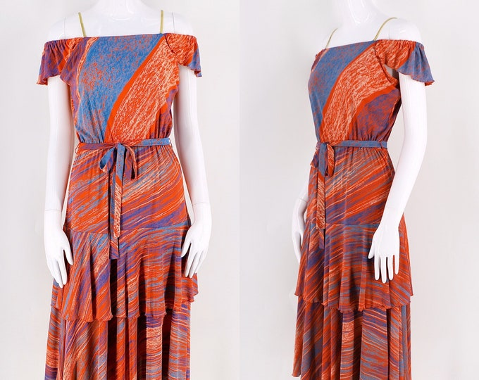 70s Paris print rayon jersey disco dress sz L / vintage 1970s Virginie red splashy pattern tiered slinky dress