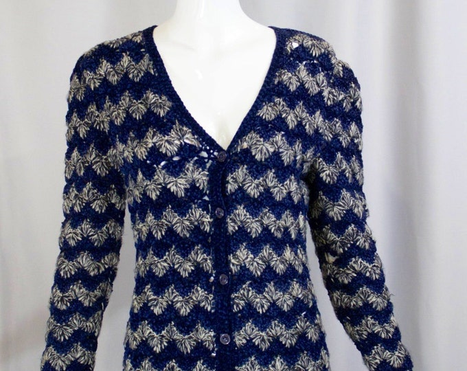 70s  YSL Yves Saint Laurent blue white zig zag striped CROCHET knit fitted sweater button up long cardigan S small 1970s vintage