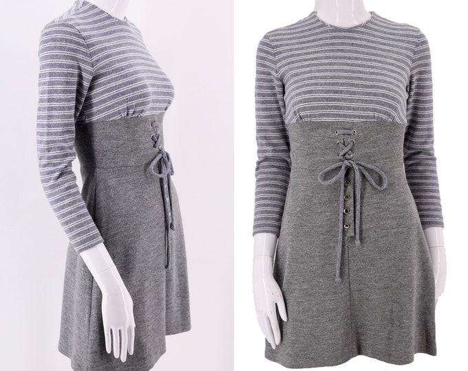 60s Gray Knit Striped Mod Mini Dress / vintage 1960s mod micro mini skirt dress sz S