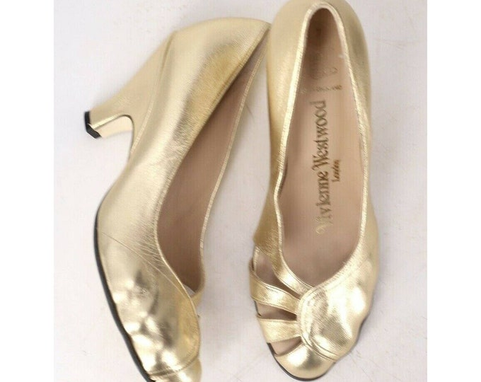gold VIVIENNE WESTWOOD molded toe shoes / metallic leather heels wedges shoes uk 7 us 9