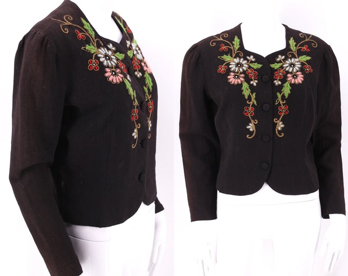 40s floral wool blouse m-l  / vintage 1940s crepe jacket / 40s womens yarn embroidered top