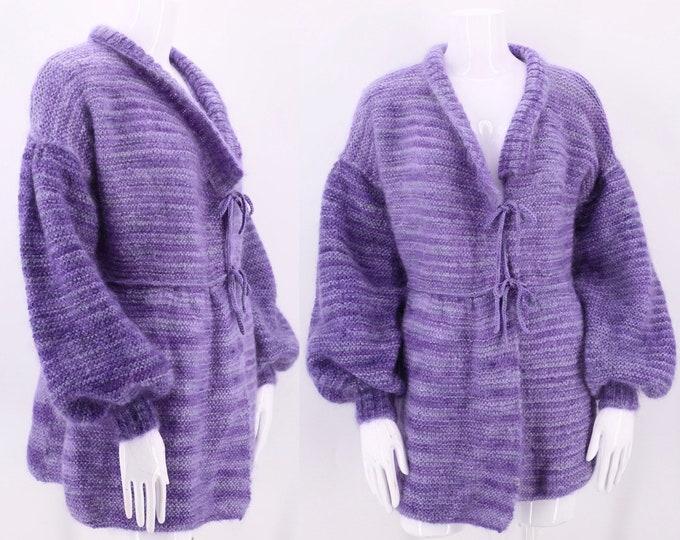 vintage mohair HAND KNIT purple sweater L / 1970s lavender handmade peasant sleeve cardigan M-L