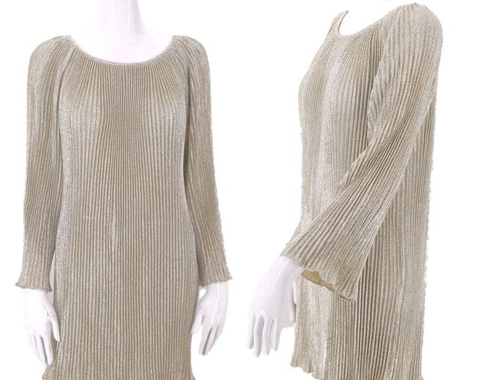 60s silver metallic lurex pleated mini dress / vintage 1960s mod go go dolly mini S-M
