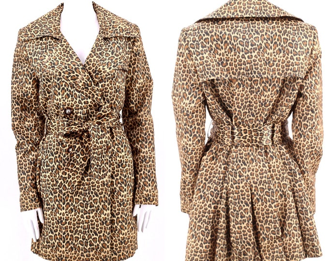 90s leopard print trench coat M / vintage 1990s Via Spiga belted jacket coat