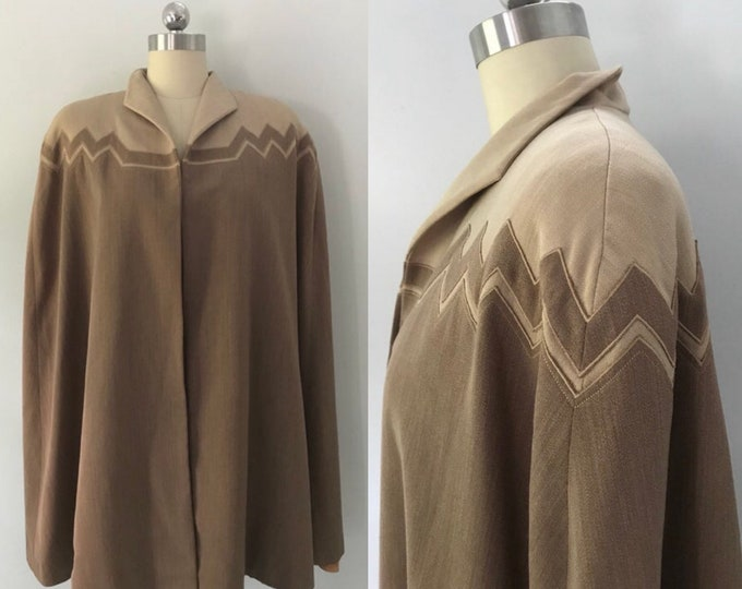 40s gabardine cape / vintage 1940s WWII ERA zig zag applique neutral cape