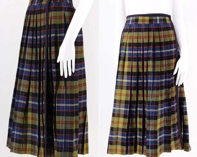 70s YSL Yves Saint Laurent plaid kilt : wool plaid pleated wrap skirt vintage 1970s school skirt size large
