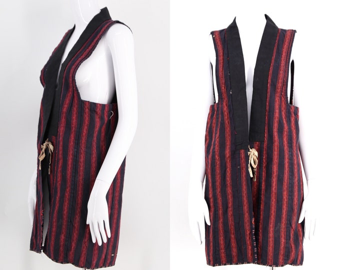 vintage JAPANESE 20s 30s work jacket vest / antique Noragi cotton indigo dyed striped kimono top