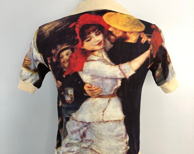 70s BELLE EPOQUE painting print collared cotton T SHIRT top 1970s vintage S
