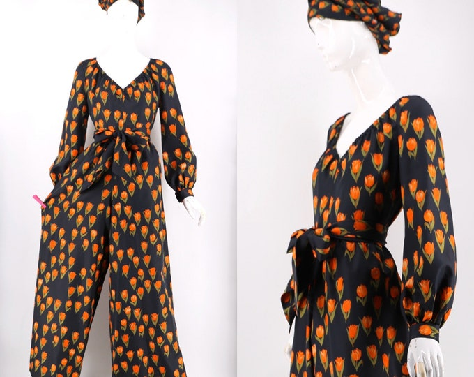 vintage 70s Mollie Parnis jumpsuit in black silk tulip novelty print w/ waist sash and shawl 1970s vintage L