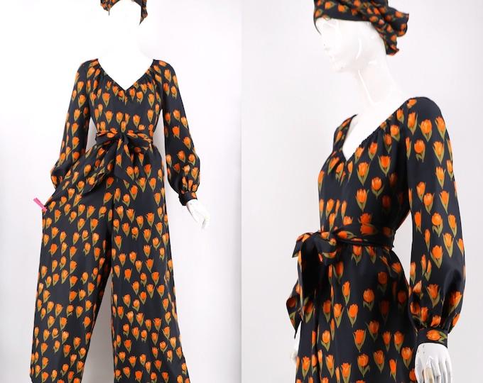vintage 70s Mollie Parnis jumpsuit in black silk tulip novelty print w/ waist sash and shawl 1970s vintage L