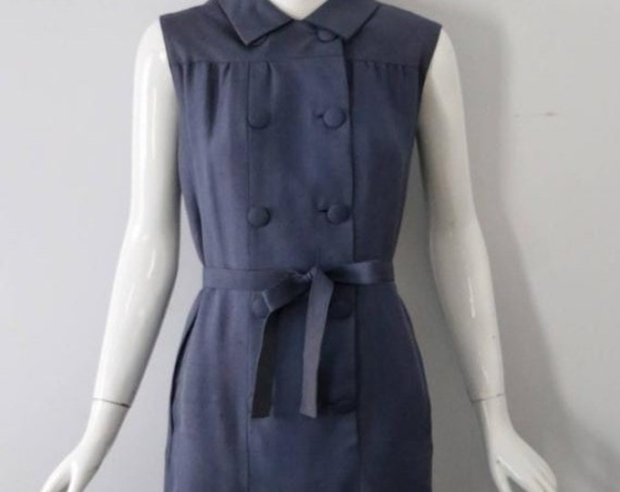 25% OFF 60s NORMAN NORELL muted blue silk sleveless shift Dress 1960s vintage as is Museum