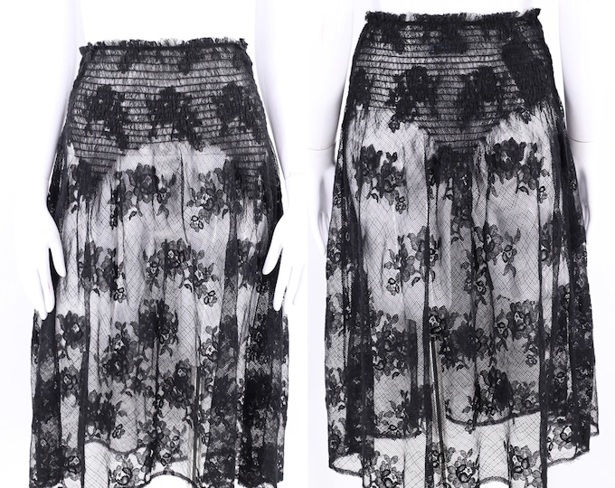 black lace PRADA lingerie skirt 8 / vintage sheer lace garter style skirt miu miu 38