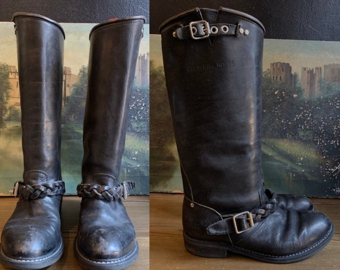 Vintage black Biker Boots SZ 7.5 / 80s leather Moto boots