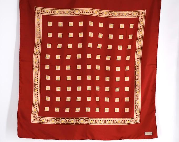 70s silk CHRISTIAN DIOR deep red print scarf / vintage 1970s designer scarf 36 x 34