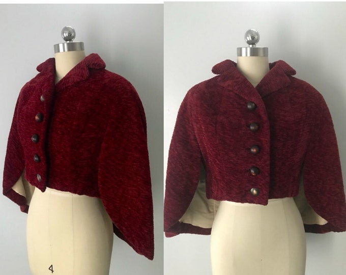 "50s CAPE in red chenille with unusual structured ""wing"" design 1950s 60s vintage"