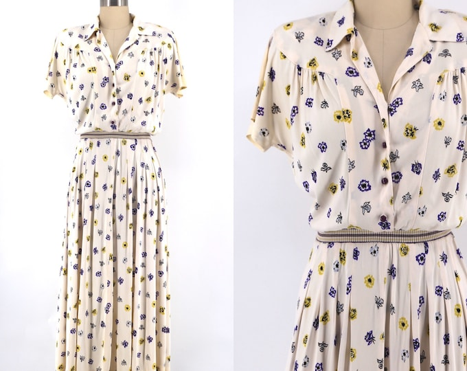 40s novelty floral nylon rayon day dress