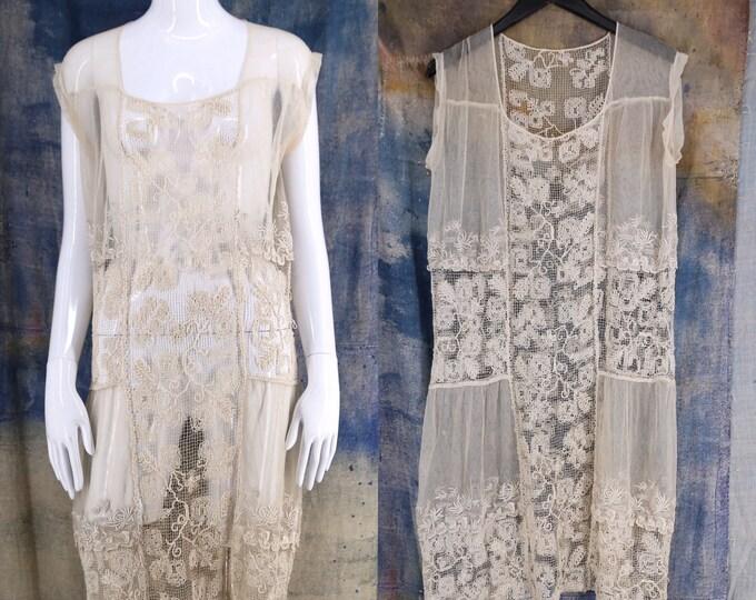 20s white lace flapper dress / vintage 1920s antique crochet lace English netting Deco drop waist dress L