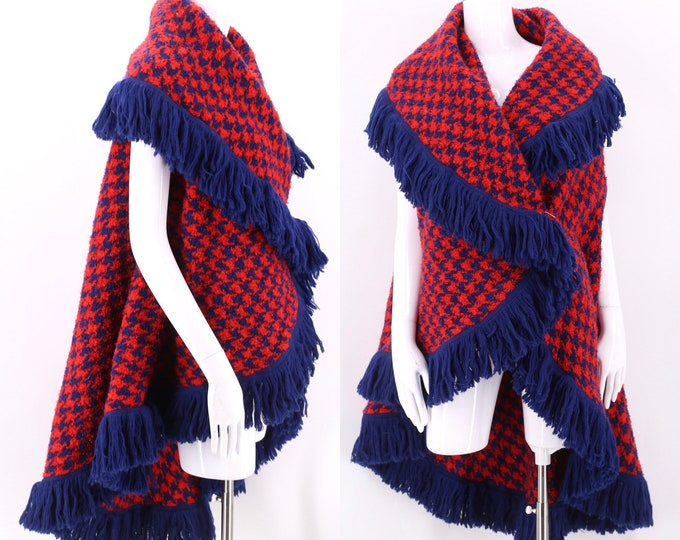 70s check print wool fringe blanket coat / vintage 1970s red & navy draped wool vest poncho cape M