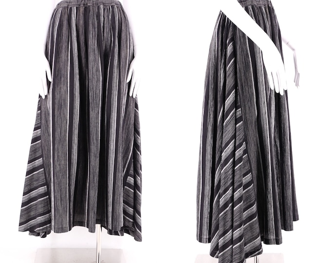 80s ISSEY MIYAKE Plantation skirt / vintage 1980s striped cotton gored full skirt sz M- L Japan
