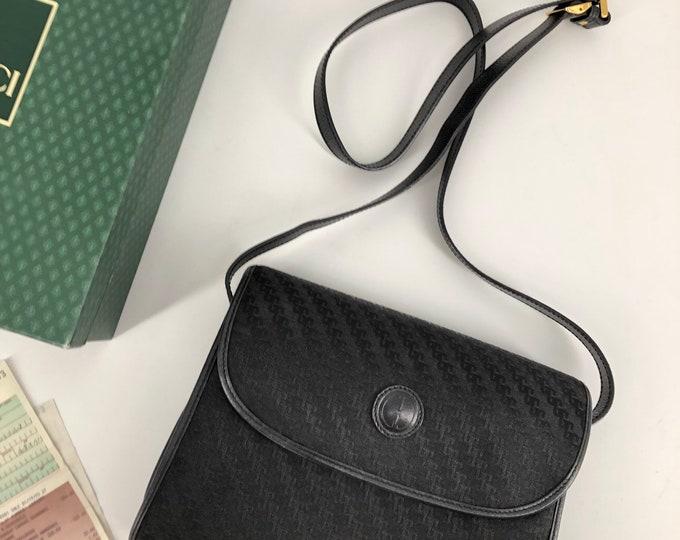 90s GUCCI black logo cross body cloth shoulder bag w/ gold hardware 1990s vintage new in box