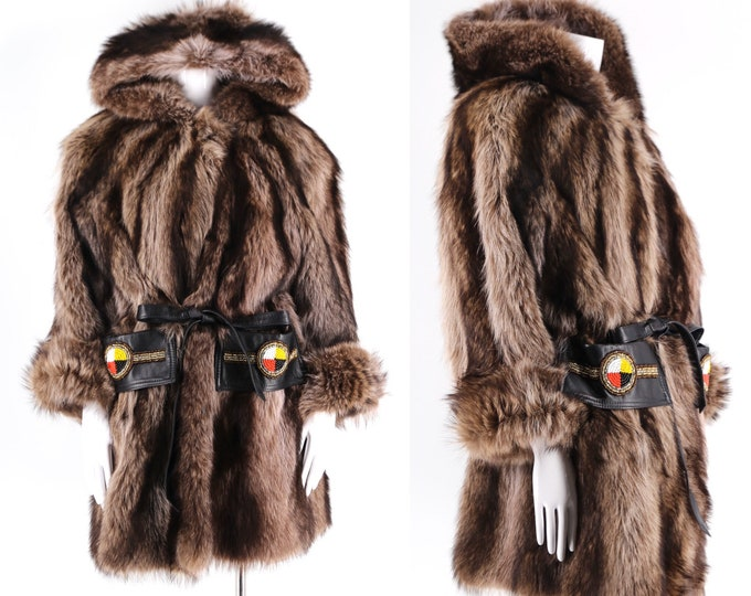 vintage D'ARCY MOSES raccoon fur hooded cinch waist coat / 90s Indian Nation leather trim jacket ski unisex L - XL