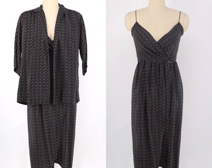 70s OSCAR De La RENTA silk wrap dress & blouse / 1970s vintage black polka dot print slip dress and tunic blouse jacket size 4